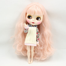 blyth joint doll Pink hair Bangs hairstyle 260BL1059 factory doll girl toys DIY Special offer