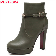 MORAZORA 2018 Newest boots women zipper 와 버클 short 봉 제 autumn winter 플랫폼 섹시에게의 (high) 저 (힐 shoes ankle boots(China)