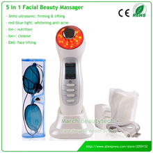 Portable Home Use High Frequency 3MHZ Ultrasonic Waves Led Light Photon Therapy Skin Care Machine(China)