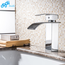 DOODII Wholesale And Retail Chrome Finished Waterfall Bathroom Faucet Bathroom Basin Mixer Tap with Hot and Cold Water(China)