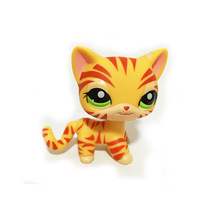Pet Shop Animal Orange Striped Short Hair Cat Kitty Figure Child Toy FREE SHIPPING