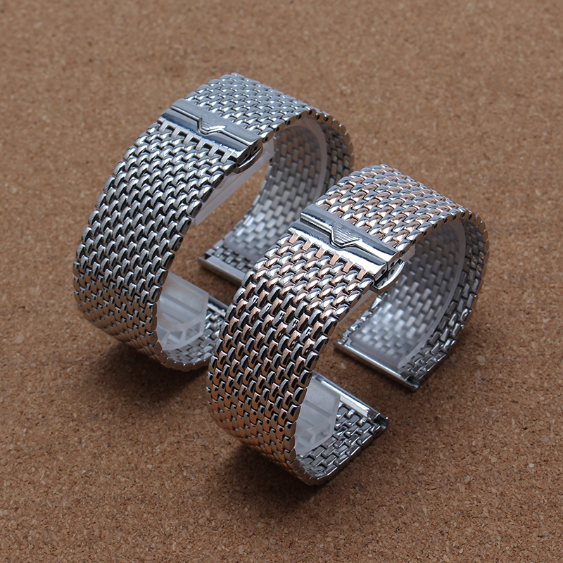 22 mm Stainless Steel Bracelet Silver Metal Flat End Watch Band untrl-Thin Quartz Watch Strap Accessories for brand men watches<br><br>Aliexpress