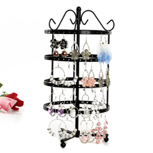 FUNIQUE 1PCs Four-layer Round 144-hole Iron Earrings Rotating Jewelry Display Stand Holder Metal Base Case 31cmx16cm(China)