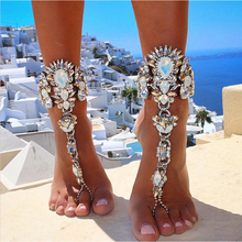 AOCARLA Ankle Bracelet Wedding Barefoot Sandals Beach Foot Jewelry Sexy Pie Leg Chain Female Boho Crystal Anklet Accessories