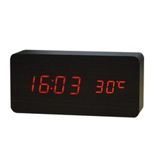 New Multifunction Black Wood Red Digital Table Clocks LED Alarm Clock Despertador Temperature Sound Control LED Display Desktop
