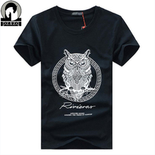 New arrival men fashion 2017 summer style high quality men's t-shirt cotton cartoon OWL animal printed men S-5XL brand tees tops(China)