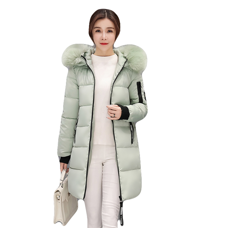 Plus Size 3XL Winter Jacket Women 2017 New Fashion Women Large Fur Collar Down Cotton Coats Female Middle-long Jackets CM1268Îäåæäà è àêñåññóàðû<br><br>