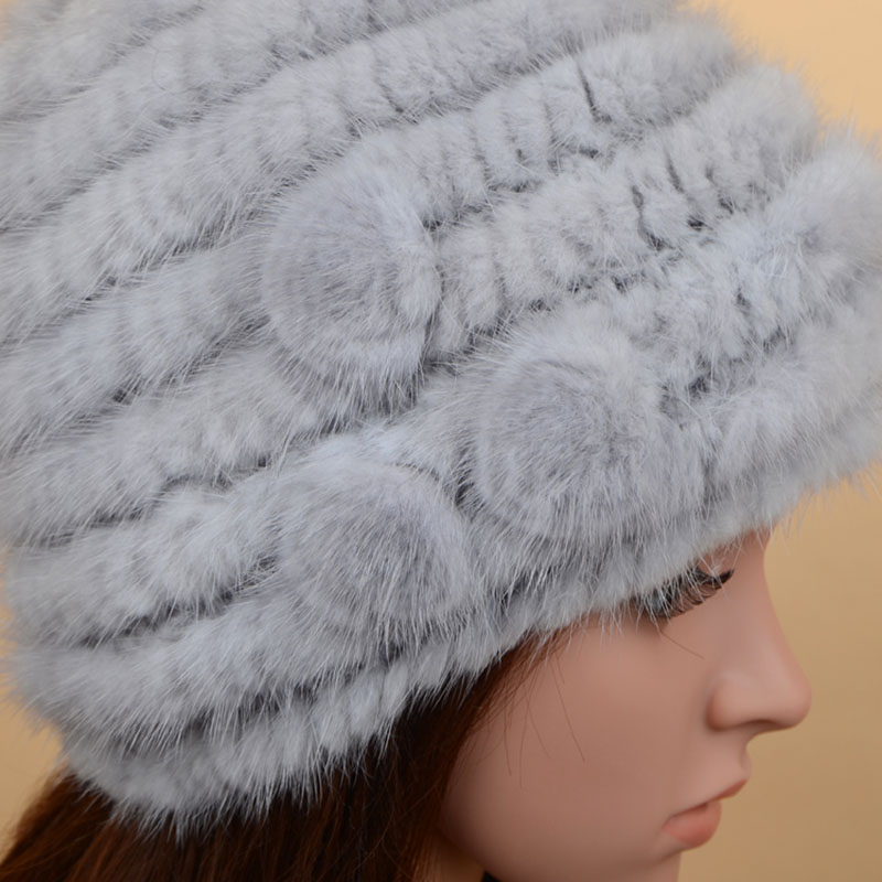 mink fur hat 3flowers grey 4