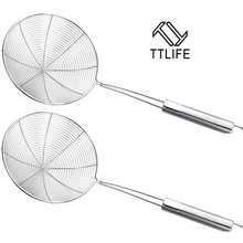 TTLIFE Stainless Steel Mesh Strainers Practical Colander Cooking Tools Soup Skimmer Scoop Colander Kitchen Accessories