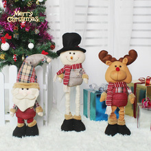 HOT NEW 62cm Retractable Christmas Santa Claus Snowman elk Dolls plush toys stuffed Christmas gift luxurious doll(China)