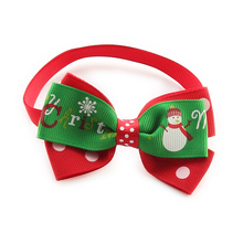 50Pcs Armi store Handmade snowman pattern Dot Red Ribbon Dog Tie Dogs Christmas Ties Bow 6033032 Pet Accessories Wholesale