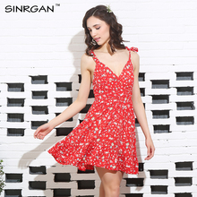 SINRGAN Sexy backless Padded Print Summer Dress Women Summer V-Neck Beach Dresses Boho Strap Red Flower Print Short Dress(China)