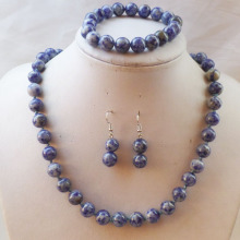Free Shipping Beautiful 10mm Sodalite Round Beads Necklace Bracelet Earring Set (Min.order 10$ mix)(China)