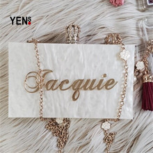 YENS Handmade Bling Acrylic Clutch Custom Name Clutch Evening Bags Wedding Bridesmaid Handbag Different Colours Available(China)