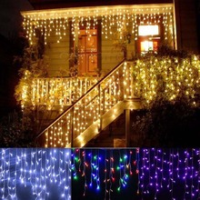 10m*0.65m 320 LED Christmas Light LED Fairy String Lamps Curtain Icicle Christmas Wedding Party Prom Decoration 110v 220v EU US(China)