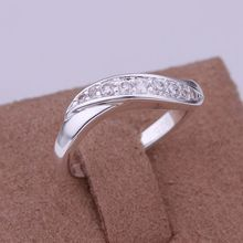 Free Shipping jewelry silver plated   Jewelry Ring Fine Fashion Silver Plated Zircon Women&Men Finger Ring Top Quality SMTR159