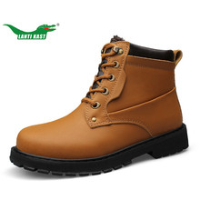 LANTI KAST Large Size 37-52 Unisex Snow Hiking Boots Genuine Leather Waterproof Shoes Plush Keep Warm Rubber Sole Non-slip Shoes(China)
