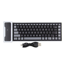 84 Keys USB Silicone Rubber Waterproof Flexible Foldable wireless bluetooth Keyboard For PC IOS controle Android Tastiera(China)