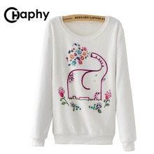 Hoodies Elephant Print 2017 Autumn Winter Women Fashion Warm Hoodie Casual Flower Flannel Hoodies Pullover Tracksuits Sweatshirt