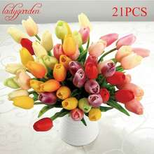 21PCS/LOT Pu Mini Tulip Flower Real Touch Wedding Flower Artificial Flower Silk Flowers Home Decoration Christmas Decorations