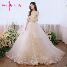 Buy Beauty Emily Luxury Lace White Wedding gown Dresses 2018 New Design Floral Trailing skirt wedding dress Tulle Bridal Gowns for $92.49 in AliExpress store