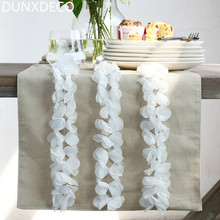 DUNXDECO Modern Romantic Linen Cotton Bar Store Table Runner Wedding Party Tablecloth Kitchen Table Cover Decoration Photo Prop