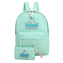 Majiabox HOT sell women bag canvas backpack cute unicorn cartoon prints pink bags teenage girls schoolbags packbag for sale BG23(China)