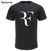 Eqmpowy Fashion Roger Federer RF Print T-Shirt Men Short Sleeve Tshirts Tops Hip Hop T shirt homme Man cotton casual T shirts(China)