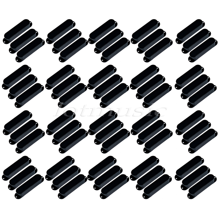 60Pcs Black Plastics Single Coil Pickup Covers Closed Solid For Fender Strat Guitar Replacement<br>