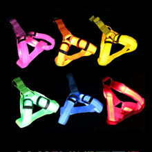 Wholesale Nylon LED Dog Harness Pet Cat Dog Collar Harness Vest Safety Lighted Dog Harness XS / S / M / L(China)