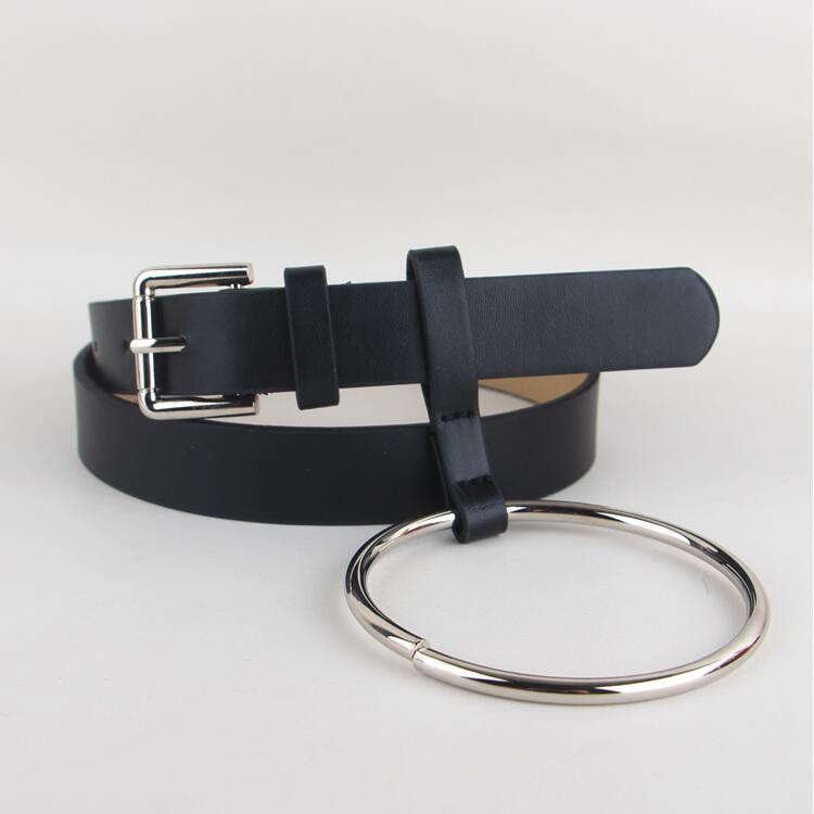HOT Newest Design Women waist belt Lovely women's big ring decorated belts female fashion gold pin buckle solid PU leather strap(China)