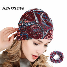 High Quality Flannel West Coast Cashew Flower 3 Use Cap Knitted Scarf Winter Hats for Women Letter Beanie Skullies Girls Gorros(China)