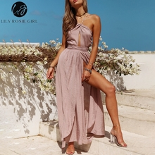Buy Lily Rosie Girl Sleeveless Halter Sexy Maxi Dresses 2018 Summer Backless Party Long Dress Women Split Elegant Beach Red Vestidos