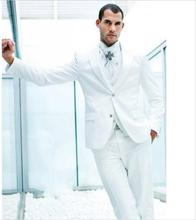 Elegant Pure White Men Suits For Wedding 2017 Simple Fashion 3Pieces Groomsmen Suits Men's Formal Occasion Wear(Coat+Pants+Vest)