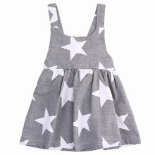 Pudcoco Girls Summer Dress Toddlers Tank Dresses For Girls Stars and Stripe With Bow Tie