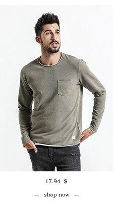 SIMWOOD 2018 Automne À Manches Longues T-shirt Hommes 100% Pur Coton Slim Fit Drôle de Mode De Poche Tops Haute Qualité TC017004 9