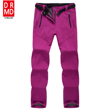 outdoor Winter ski pants women solft shell pants plus size waterproof snow pants thicken fleece hiking pant snowboard trousers(China)
