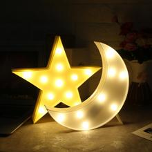 1Pc Cute Moon Star Shape Led Night Light Baby Children Bedroom Party Decoration Lamp Romantic Table Lamp Atmosphere Decor Lights
