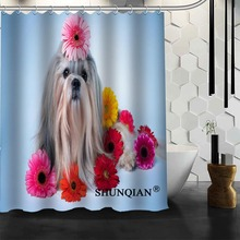 dog Shower Curtain High Quality Bathroom product Personalized Custom Fabric Bath Curtain(China)