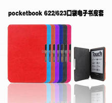 Magnetic Clasp PU Leather Pocketbook Case pouch cover jacket for PocketBook 622 623 6 inch Display E-BOOK Reader free shipping(China)