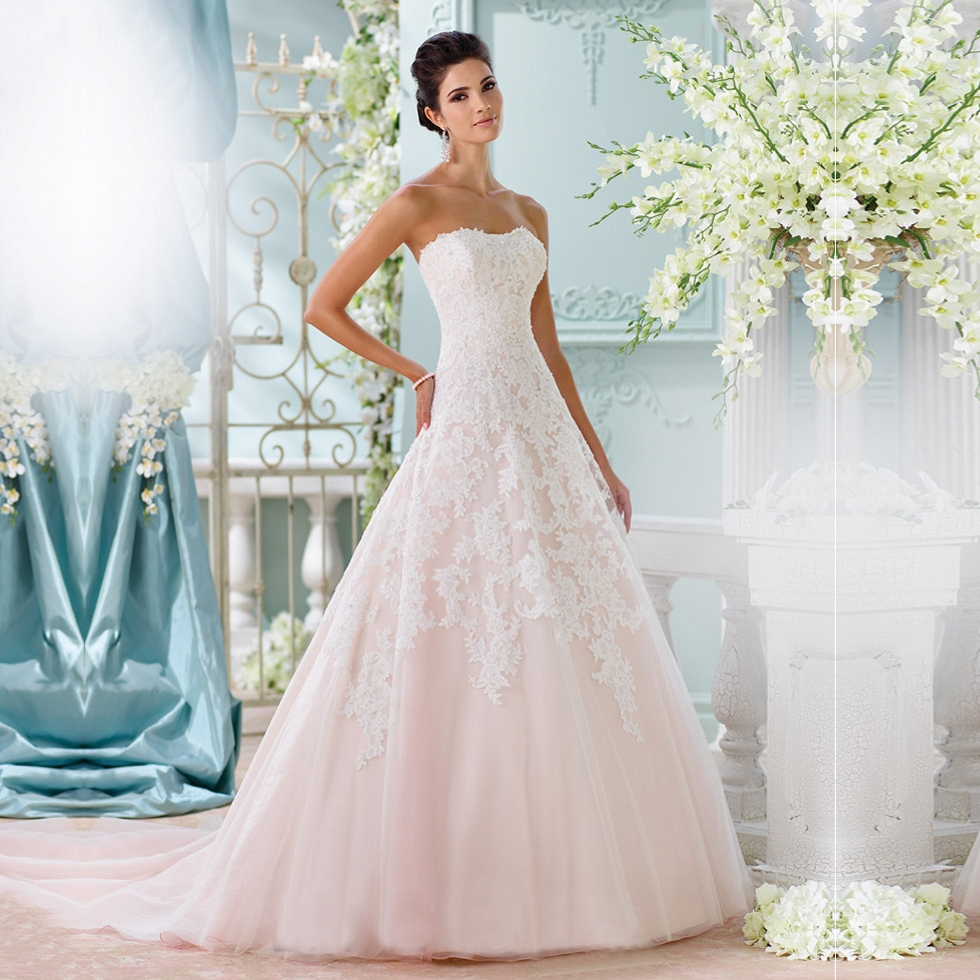 pink strapless a line vintage lace wedding dresses tulle sexy wedding gowns vestido de noiva 2015 shopping sales online