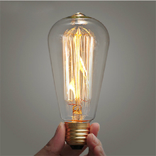 10PCS E27 110V/220V 40W/60W Vintage Antique Edison Style Carbon Filament Bulb ST64 Edison Bulb Light Incandescent Bulb Lamp
