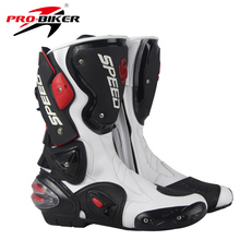 Riding Tribe Microfiber Leather Motorcycle Boots Pro Biker SPEED Moto Motor Bike Racing Shoes Motocross Motorbike Boots(China)