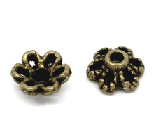 DoreenBeads Zinc metal alloy Beads Caps Flower Antique Bronze(Fits 8mm-12mm Beads)Flower Hollow Pattern 6mm x 2.8mm ,55 PCs