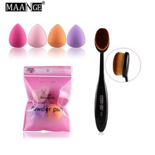 MAANGE 4 Pcs Sponge soft Cream puff+1 Pcs Power makeup brush Beauty Oval Cosmetic Toothbrush-shaped foundation Blend brush Tool