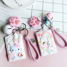 Hello Kitty Keychain Lovely Kt Cat Small Bell Cream Transit Meal Access Credit Card Set Key Buckle Pendant(China)