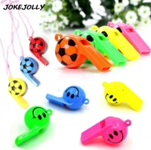 5pcs/lot Soccer football or smiling face whistle cheerleading toys for kids children plastic whistles toys with ropes GYH(China)
