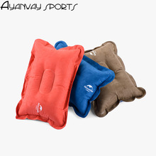 Suede fabric inflatable pillows fast blow Deflation headrest small back cushion folding travel camping pillow Collapsible light