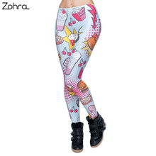 Zohra Fashion Fast Food Comix 3D Printing Punk Women Ladies Legging Stretchy Trousers Casual Pants Leggings(China)