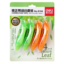 1 Pack 4Pcs Correction Tapes Leaves Shaped 5mmx6m Green And Orange For Students School Supplies Deli 8104(China)